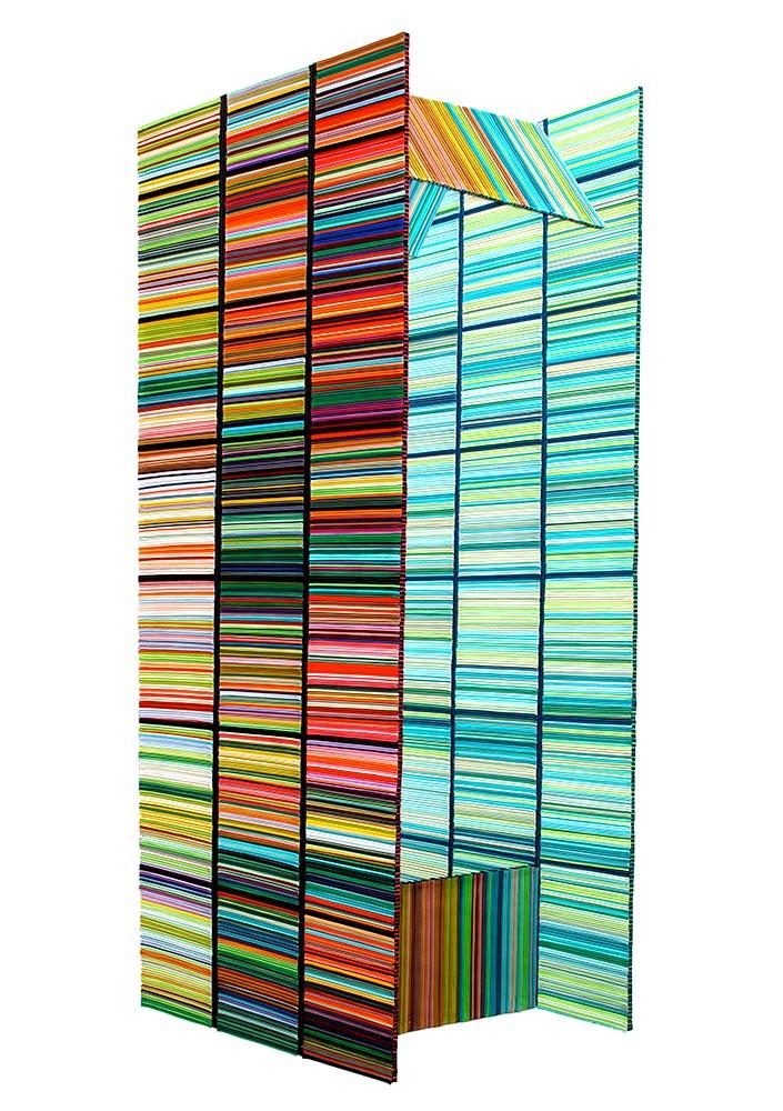Martin Fenne. Doppelzeit, 2015, satin piping, 225 x 109 x 2 cm