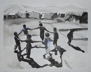 Nour-Eddine Jarram, Dans macabre, 2016, aquarel, 50 x 65 cm.